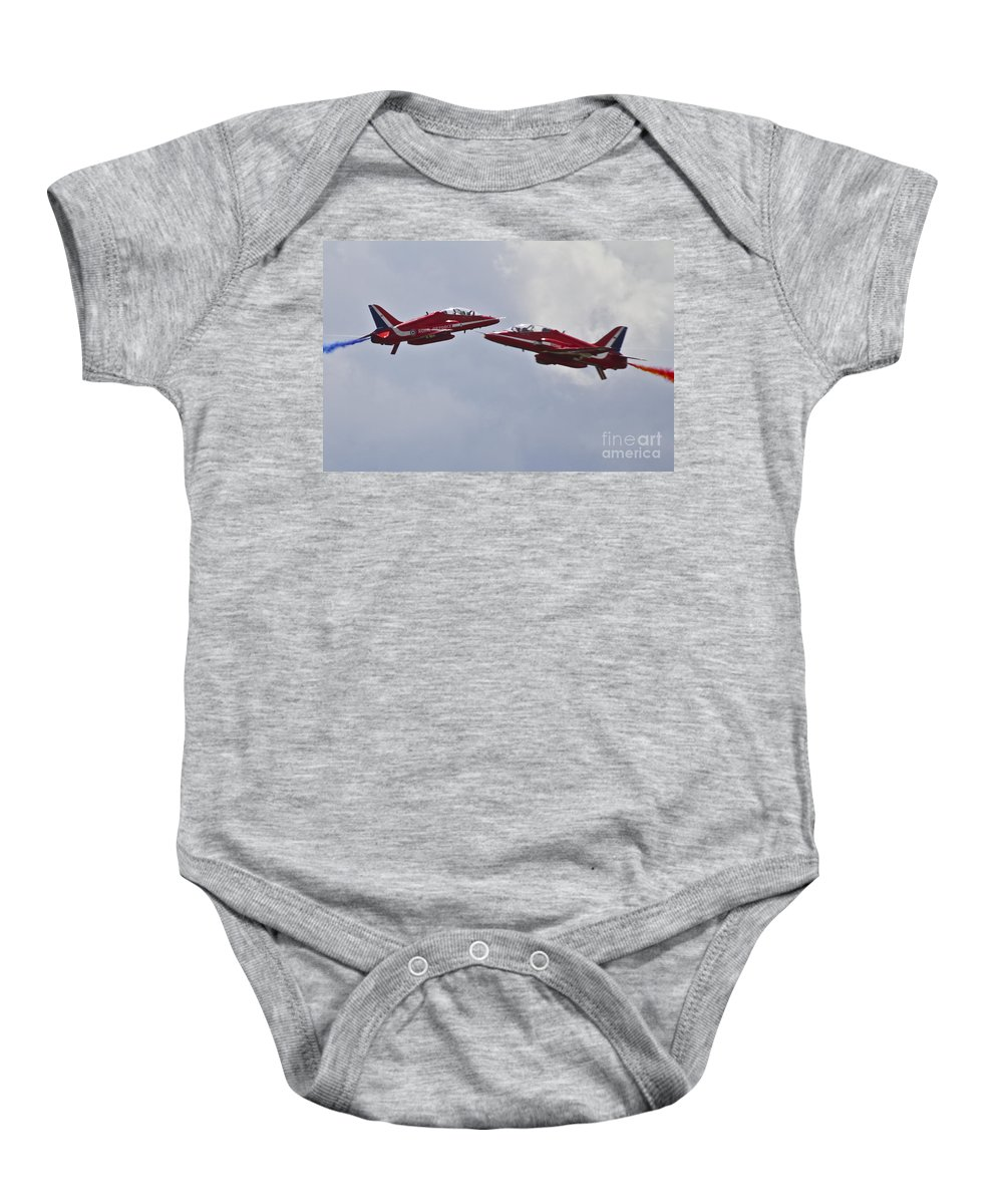Red Arrows Baby Onesie featuring the photograph Red Arrows Cross Over by J Biggadike