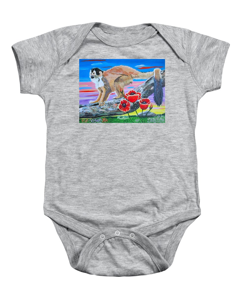 Red Backed Squirrel Monkey Baby Onesie featuring the painting Red Backed Squirrel Monkey Base On A Photo By Larry Linton by Phyllis Kaltenbach