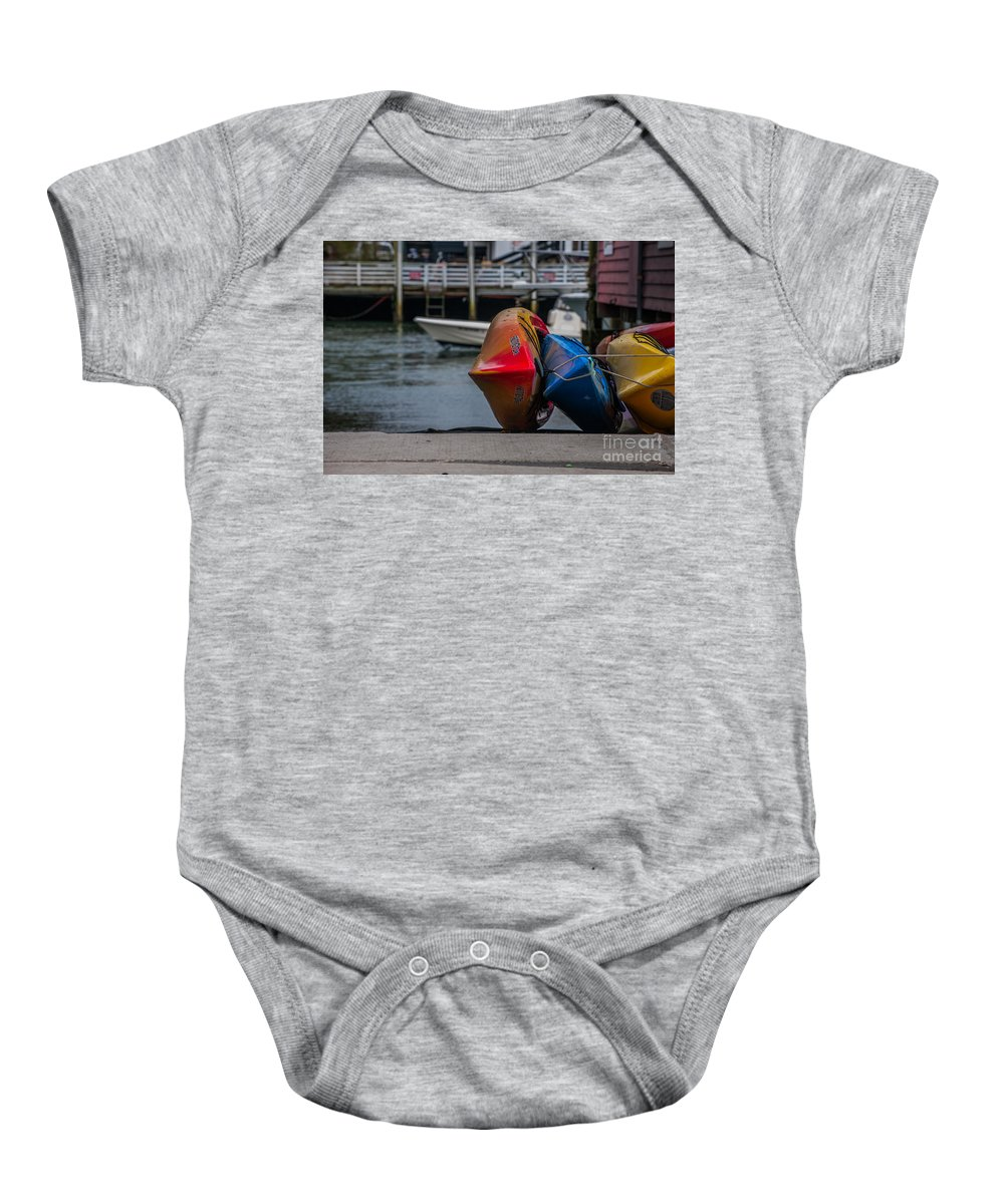 Shem Creek Baby Onesie featuring the photograph Red Blue And Yellow by Dale Powell
