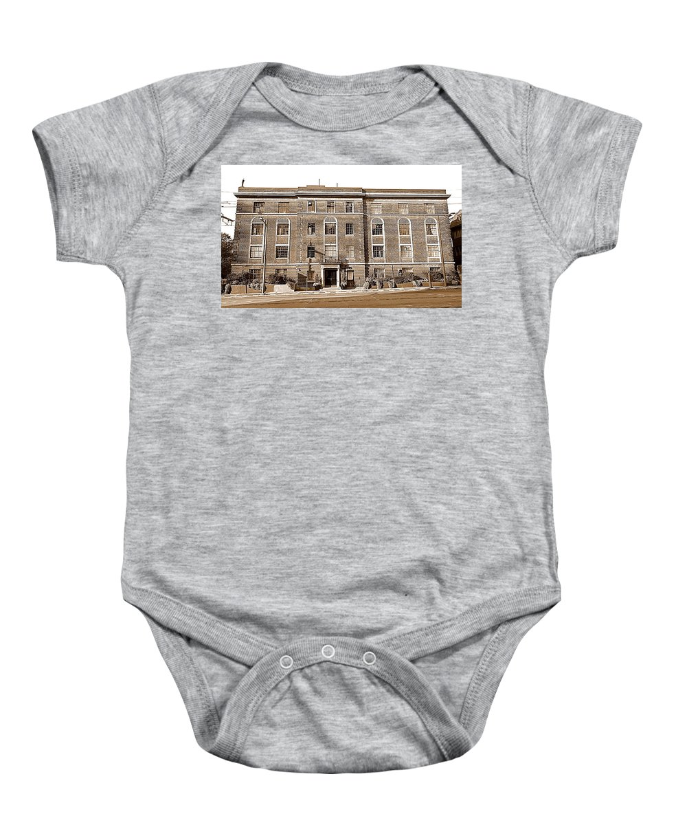 Red Baby Onesie featuring the photograph Red Bricks Building In Sepia by Valentino Visentini