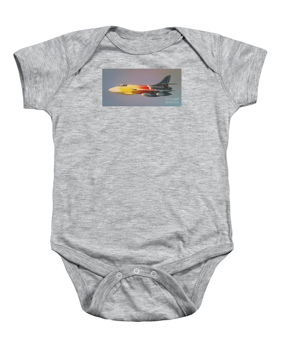 Warbird Baby Onesie featuring the painting Red Bull Hawker Hunter Miss Demeanour by Richard John Holden RA