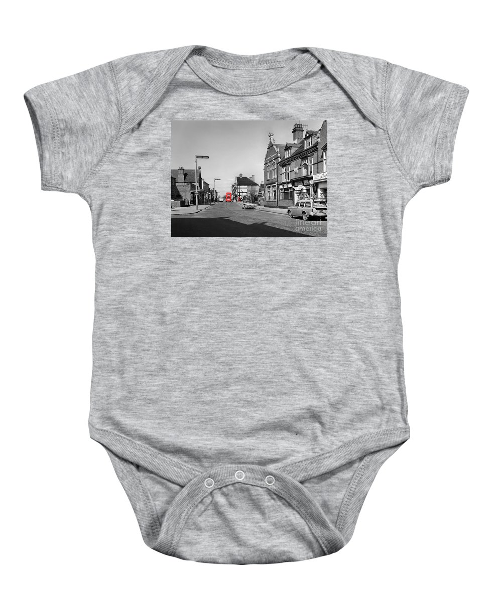 Hart Photography Baby Onesie featuring the photograph Red Bus And Red Telephone Box - 1960's  Ref-124-2 by William R Hart