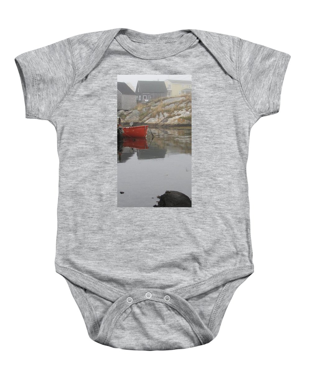 Dinghy Baby Onesie featuring the photograph Red Dinghy by Jennifer Wheatley Wolf