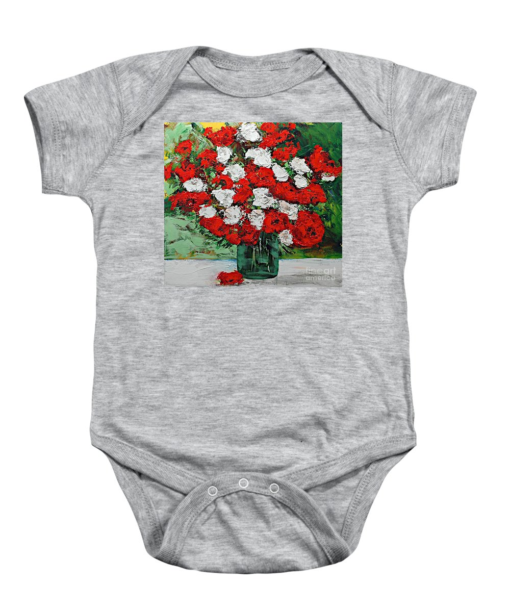 Landscape Baby Onesie featuring the painting Red Explosion by Allan P Friedlander