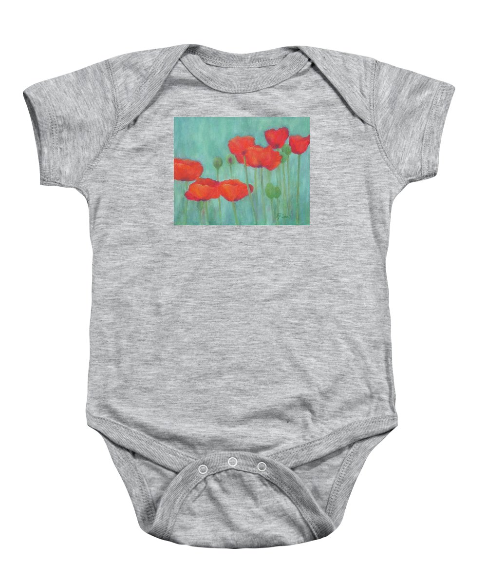 Red Poppies Baby Onesie featuring the painting Red Poppies Colorful Poppy Flowers Original Art Floral Garden by K Joann Russell