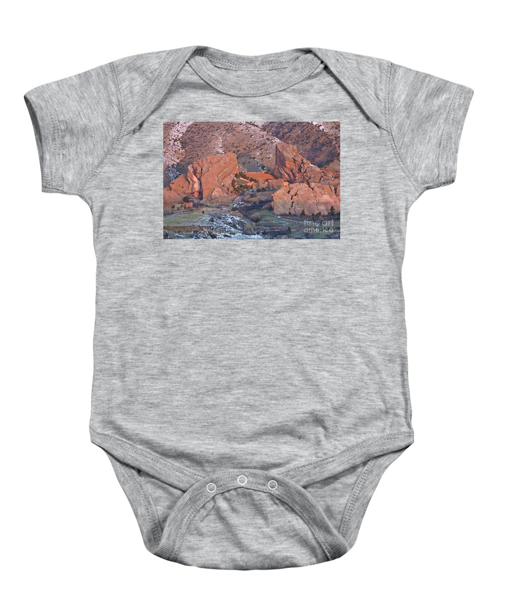 Red Baby Onesie featuring the photograph Red Rocks Amphitheater On Fire by Benjamin Reed