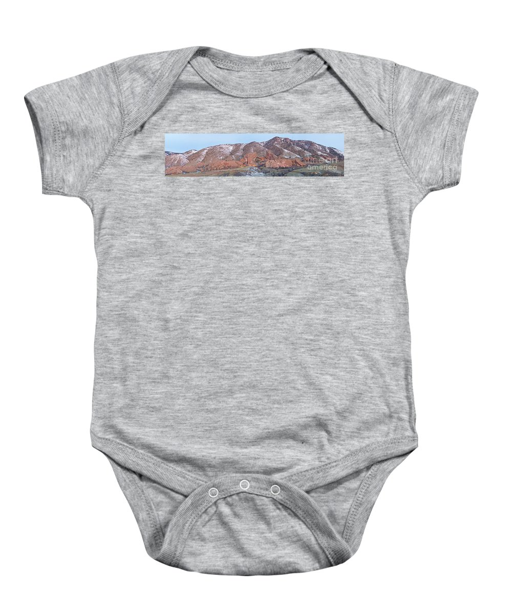 Red Baby Onesie featuring the photograph Red Rocks Panorama 1 by Benjamin Reed
