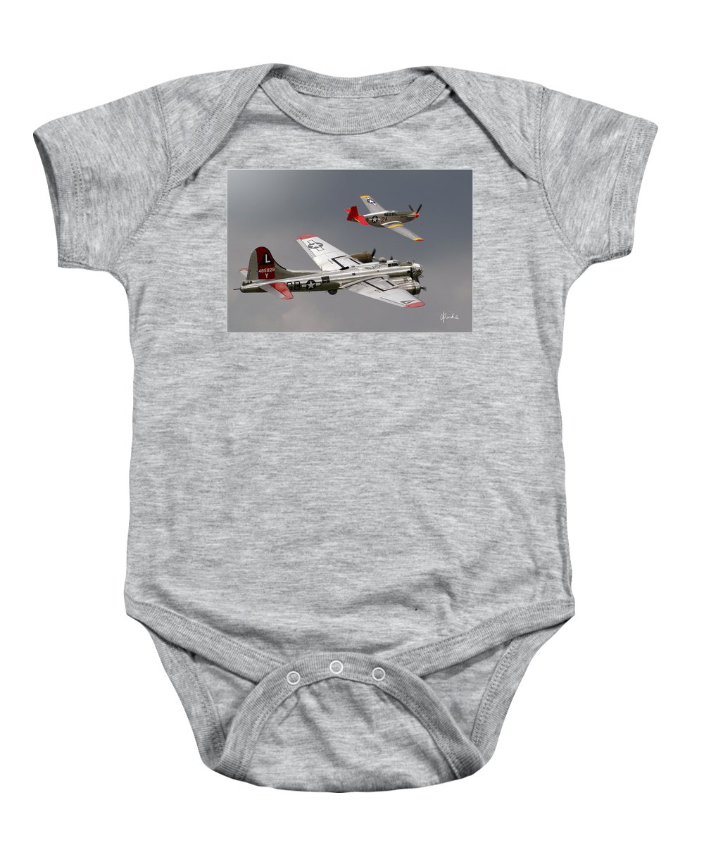Red Baby Onesie featuring the photograph Red Tail Escort by Craig Purdie