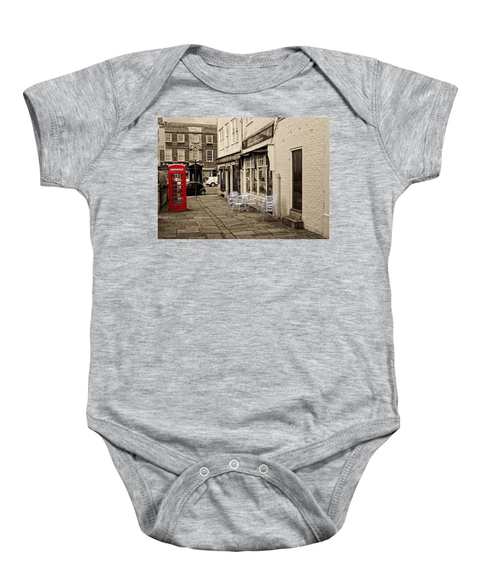 Wiltshire Baby Onesie featuring the digital art Red Telephone Box by Paul Gulliver