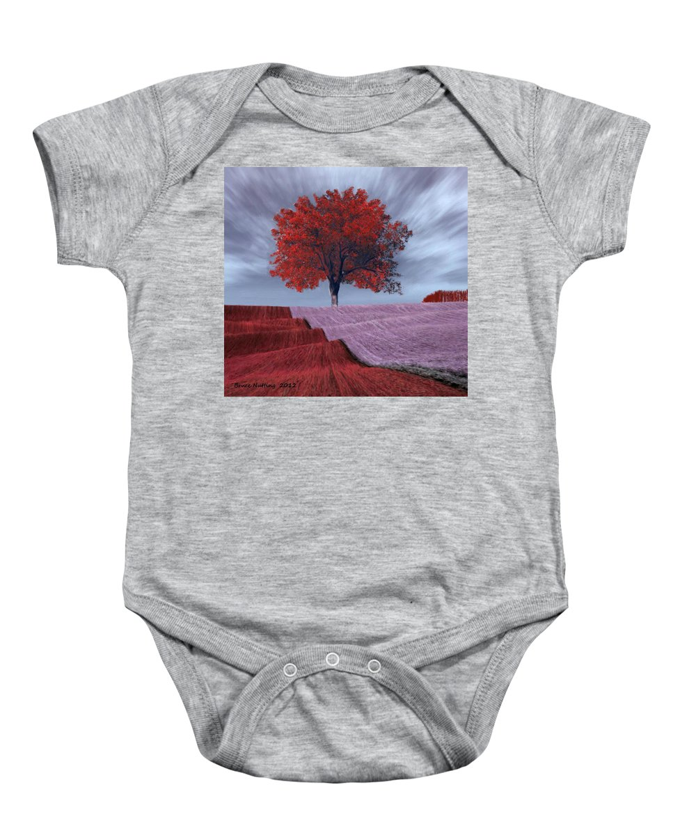 Red Baby Onesie featuring the painting Red Tree In A Field by Bruce Nutting