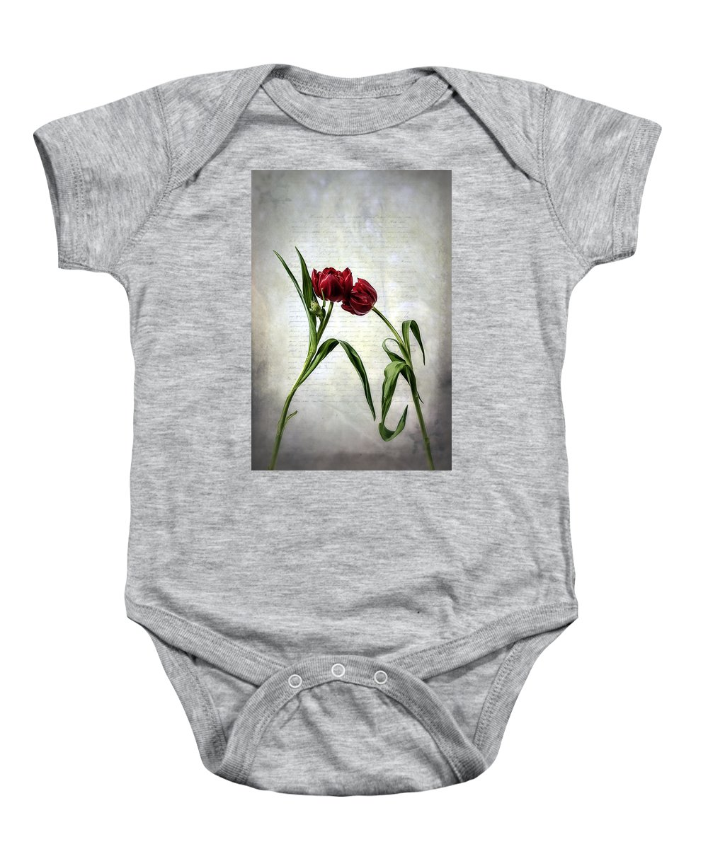 Red Baby Onesie featuring the photograph Red Tulips On A Letter by Joana Kruse