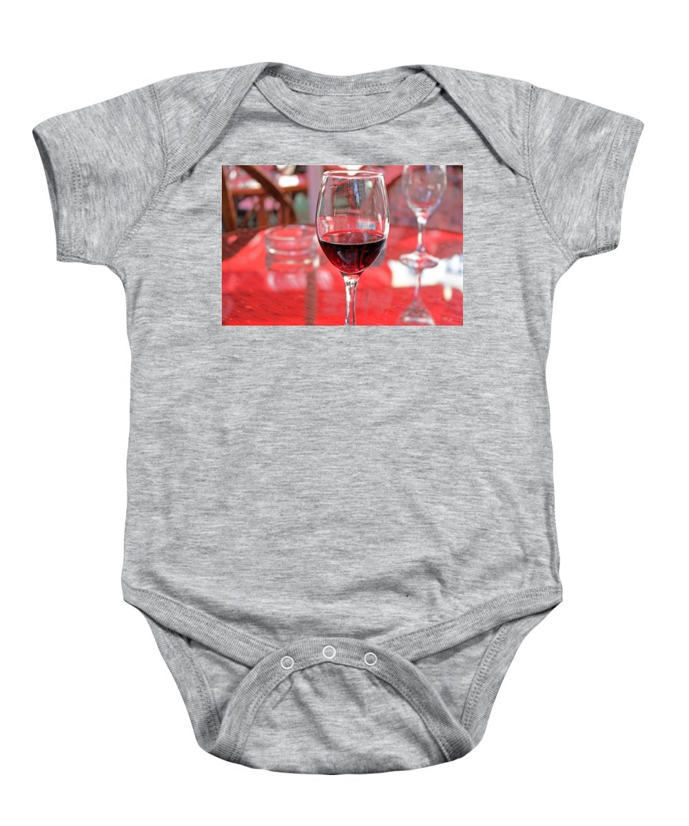 Glass Baby Onesie featuring the photograph Red Wine by Tony Murtagh