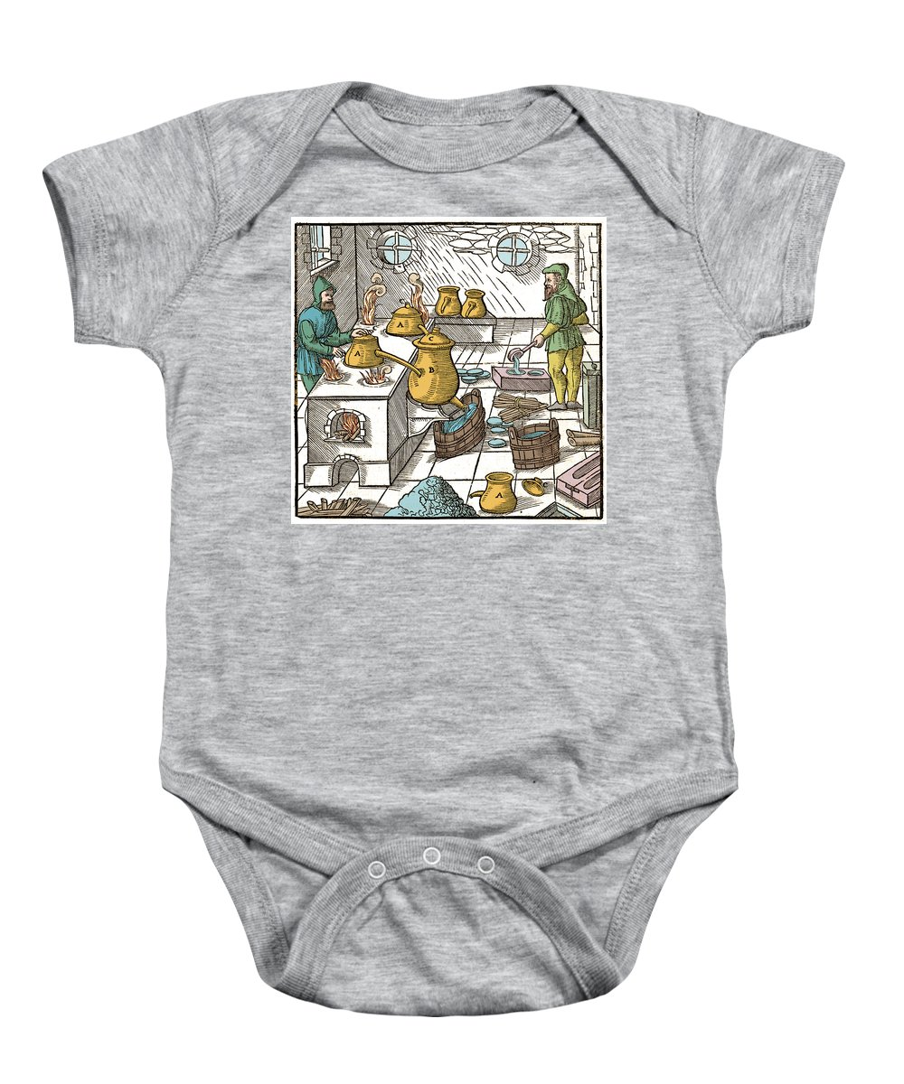 History Baby Onesie featuring the photograph Refining Sulphur, 16th Century by Wellcome Images