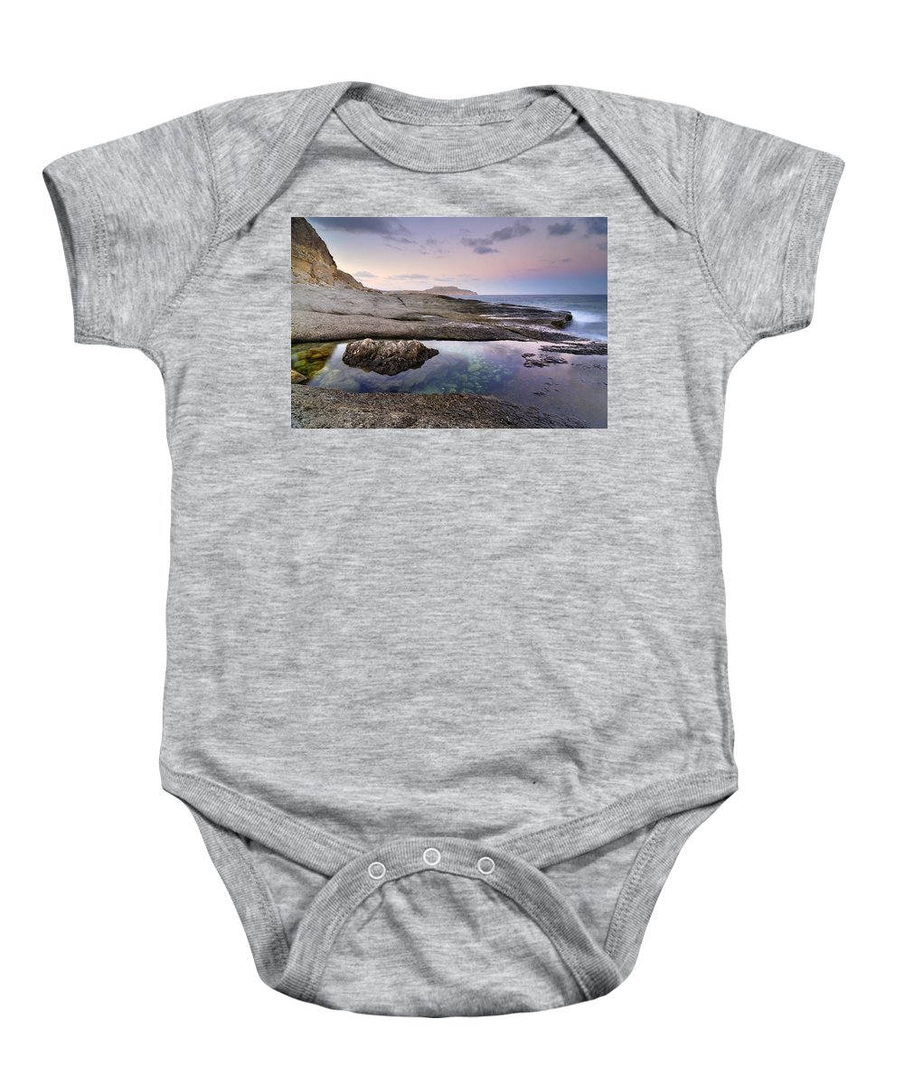 Seascape Baby Onesie featuring the photograph Reflections At Plomo Beach by Guido Montanes Castillo