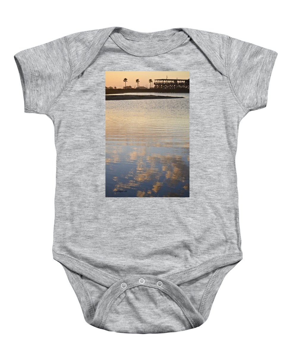 Galveston Baby Onesie featuring the photograph Reflections Of Dusk by Allen Sheffield