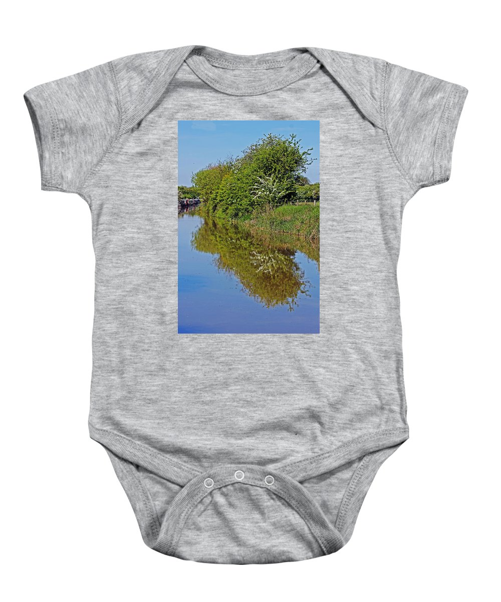 Oxford Canal Baby Onesie featuring the photograph Reflections Of Trees by Tony Murtagh