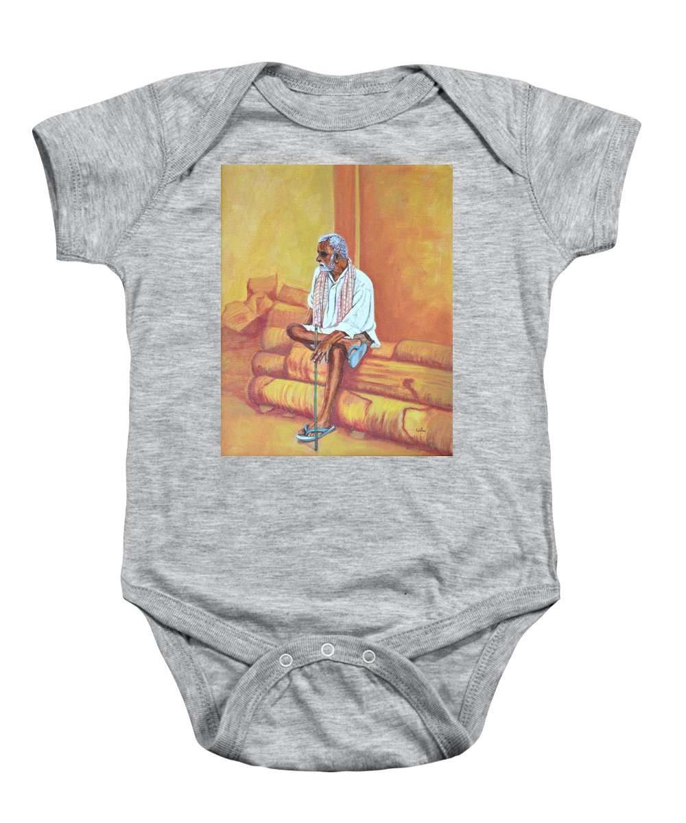 Usha Baby Onesie featuring the painting Reminiscing by Usha Shantharam