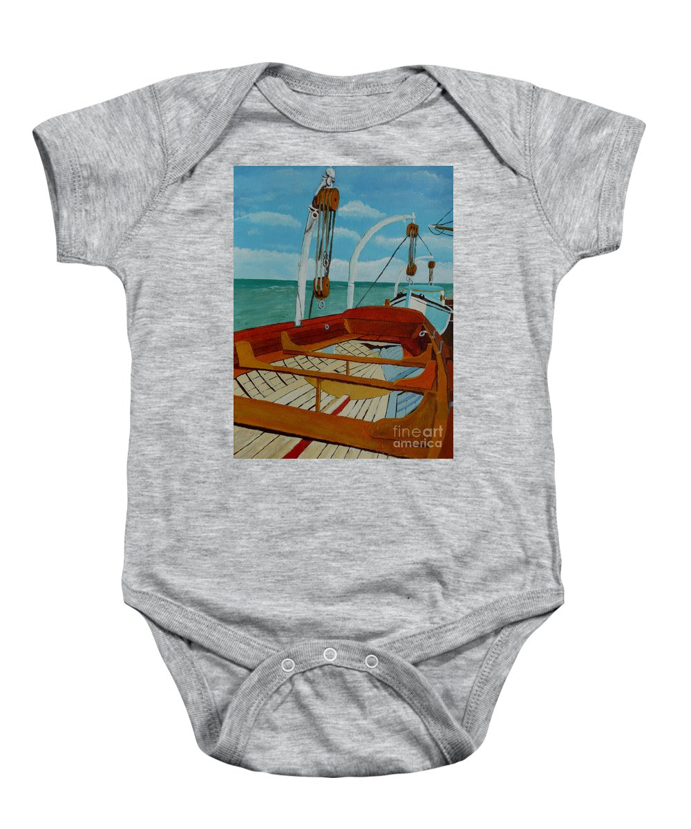 Lifeboats Baby Onesie featuring the painting Rescue Me by Anthony Dunphy