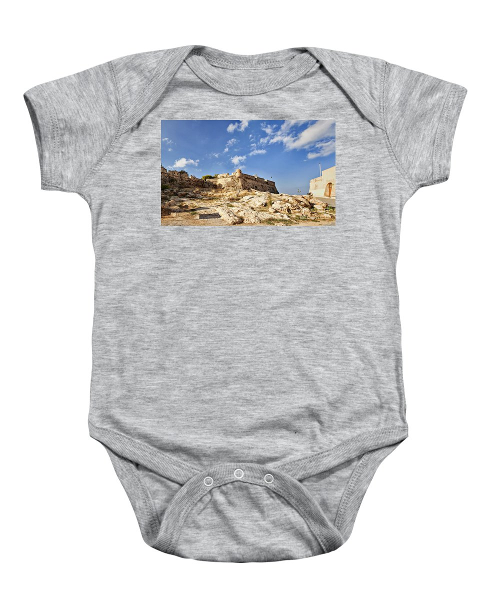 Fort Baby Onesie featuring the photograph Rethymno Fortification by Sophie McAulay