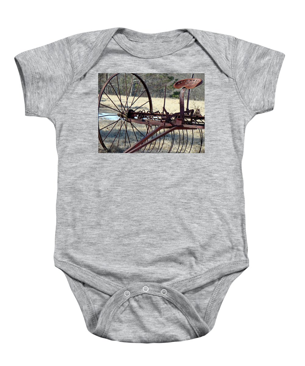 Farm Baby Onesie featuring the photograph Retired Hay Rake by Mother Nature
