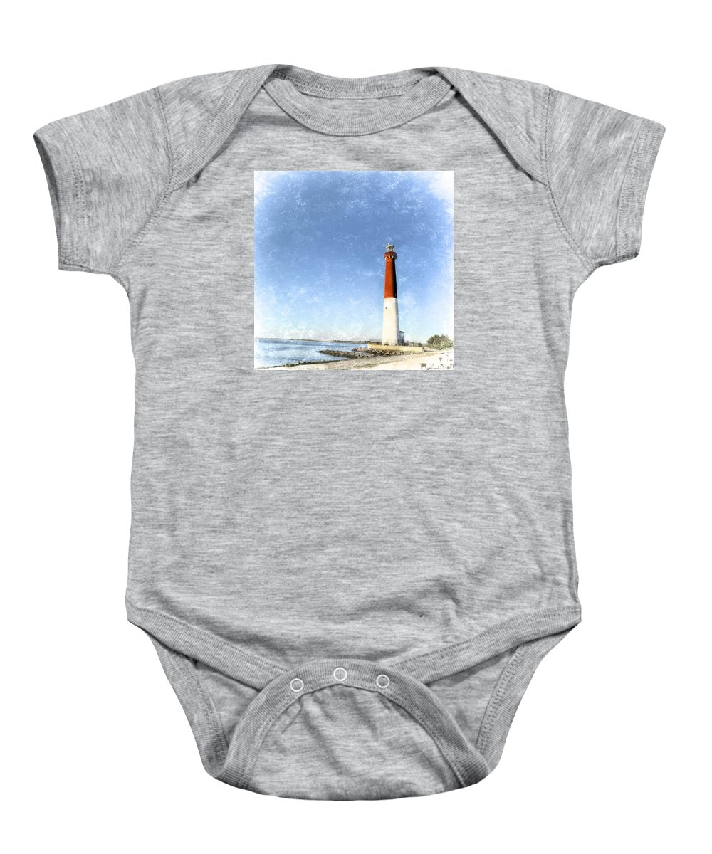 Barnegat Lighthouse Baby Onesie featuring the photograph Retro Barnegat Lighthouse Barnegat Light New Jersey by Marianne Campolongo