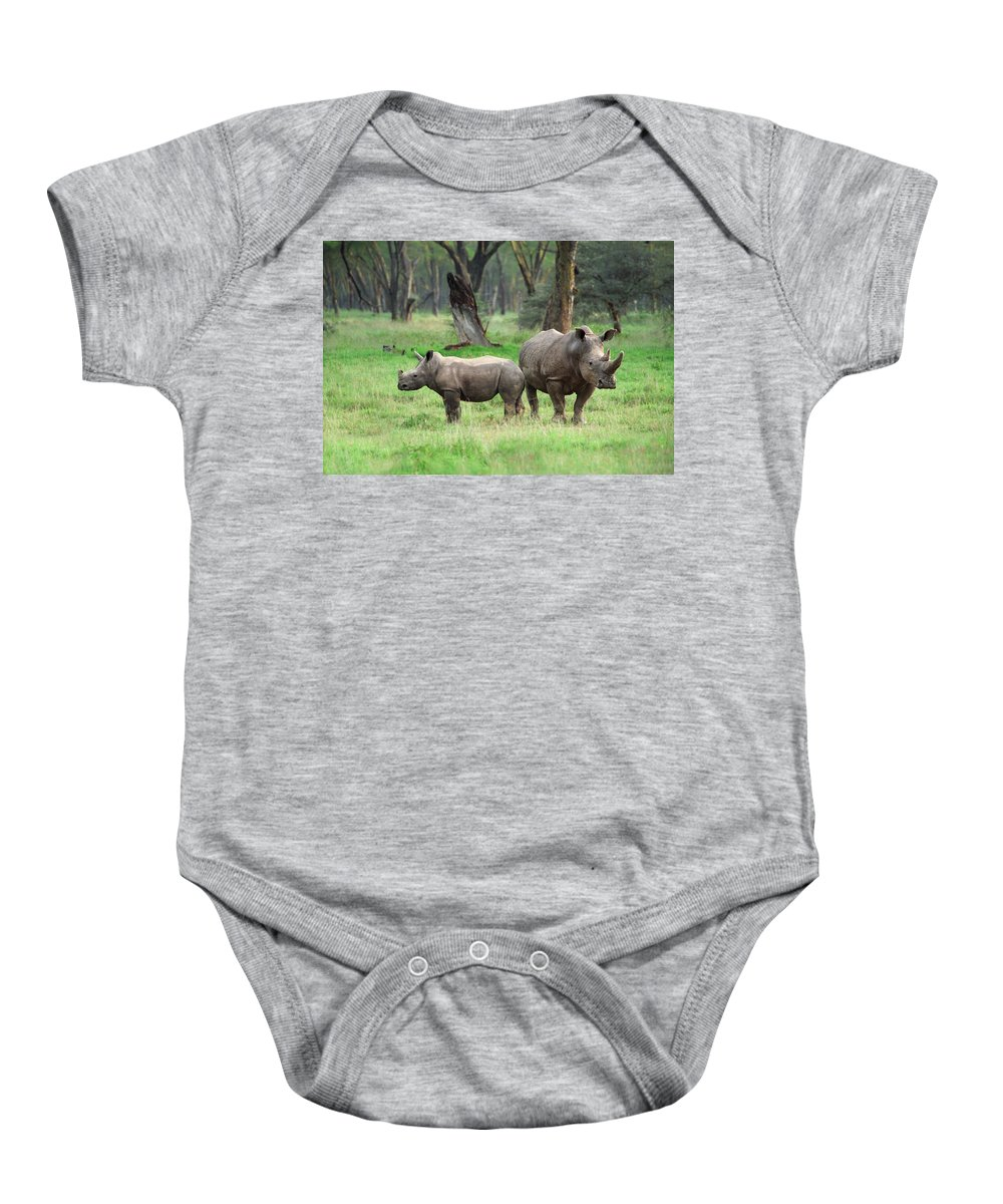 Africa Baby Onesie featuring the photograph Rhino Family by Sebastian Musial