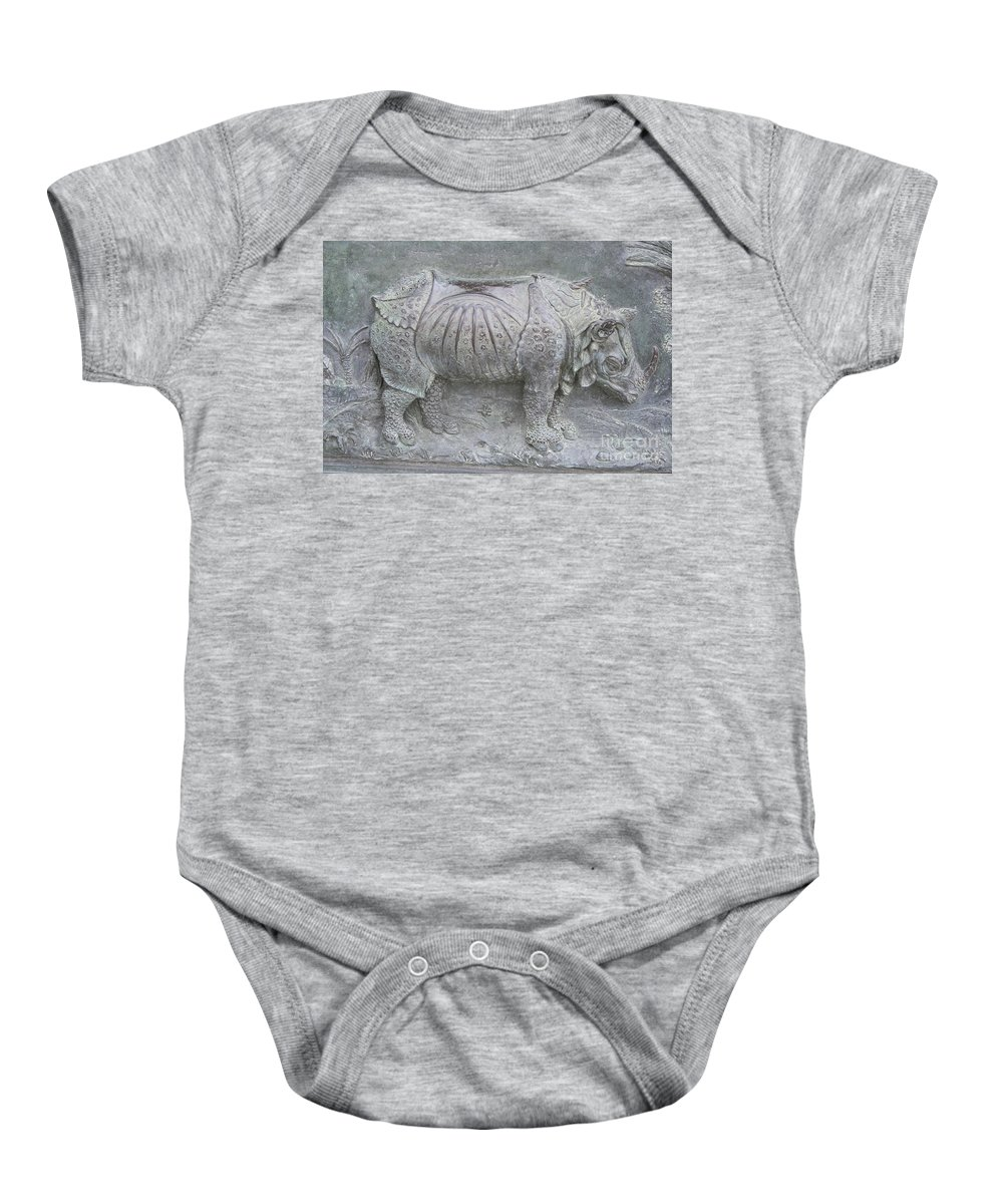 Bronze Relief Baby Onesie featuring the photograph Rhino Relief - Church Door Detail Pisa by Christiane Schulze Art And Photography