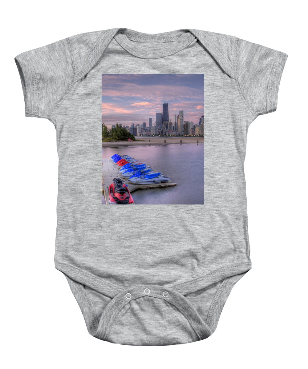 Lake Michigan Baby Onesie featuring the photograph Ride On The Wild Side by Lindley Johnson