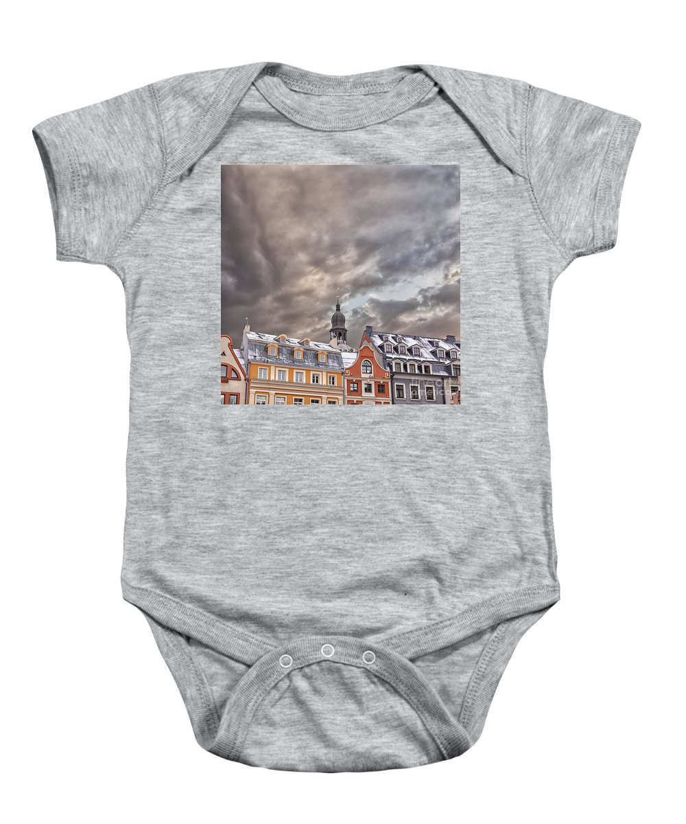Winter Baby Onesie featuring the photograph Riga Architecture by Sophie McAulay