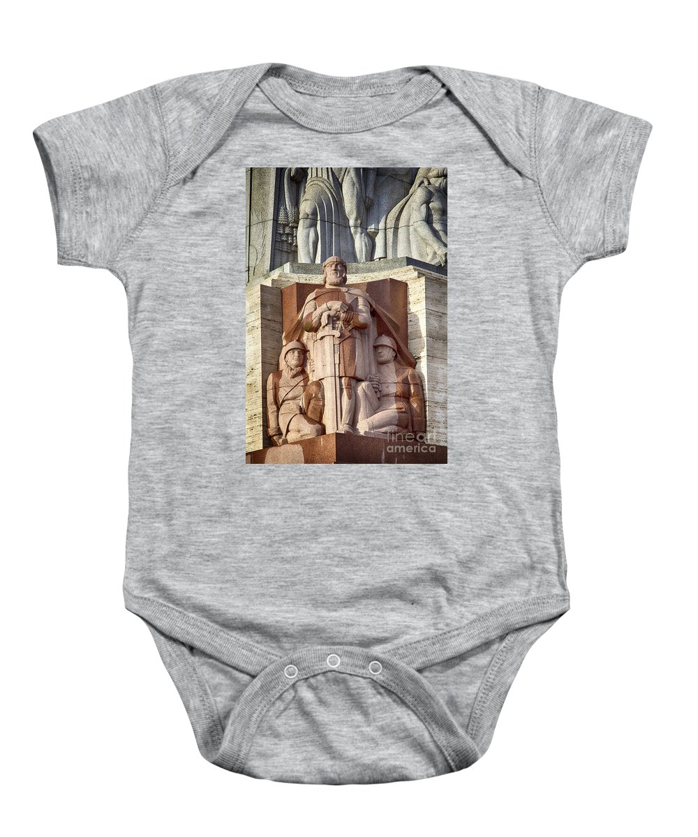 Depiction Baby Onesie featuring the photograph Riga Statue by Sophie McAulay