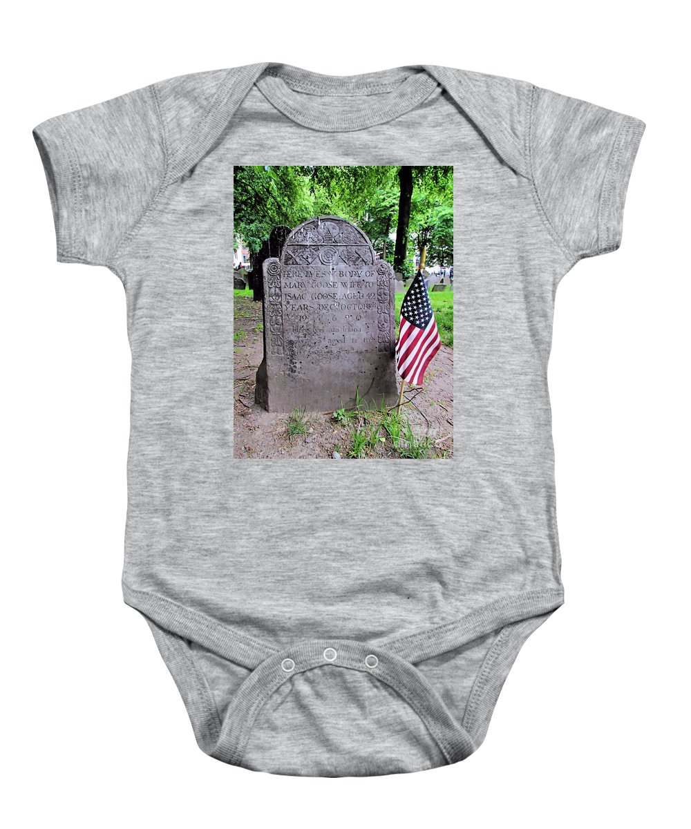 Mary Goose Baby Onesie featuring the photograph Rip Mary Goose by Elizabeth Dow