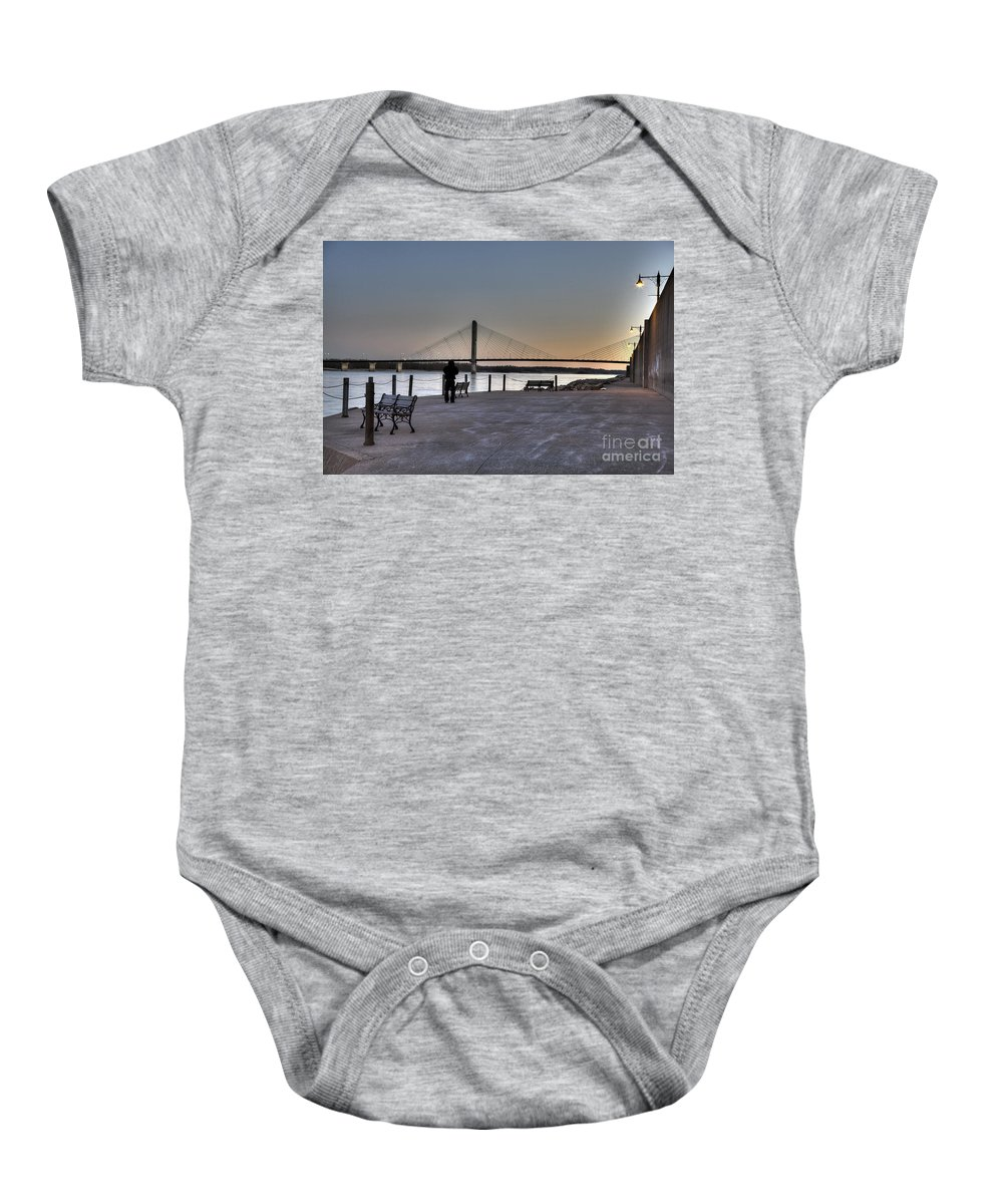 2012 Baby Onesie featuring the photograph Riverwalk by Larry Braun