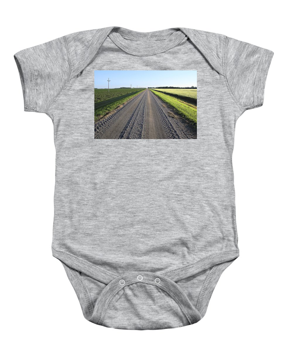 Donald Erickson Baby Onesie featuring the photograph Road Across North Dakota Prairie by Donald Erickson