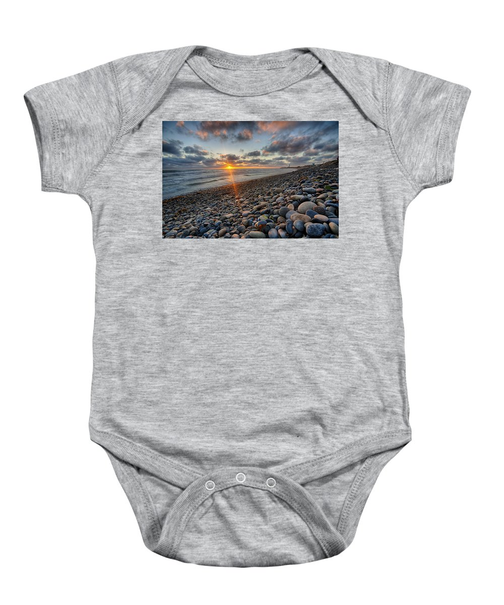 California Baby Onesie featuring the photograph Rocky Coast Sunset by Peter Tellone