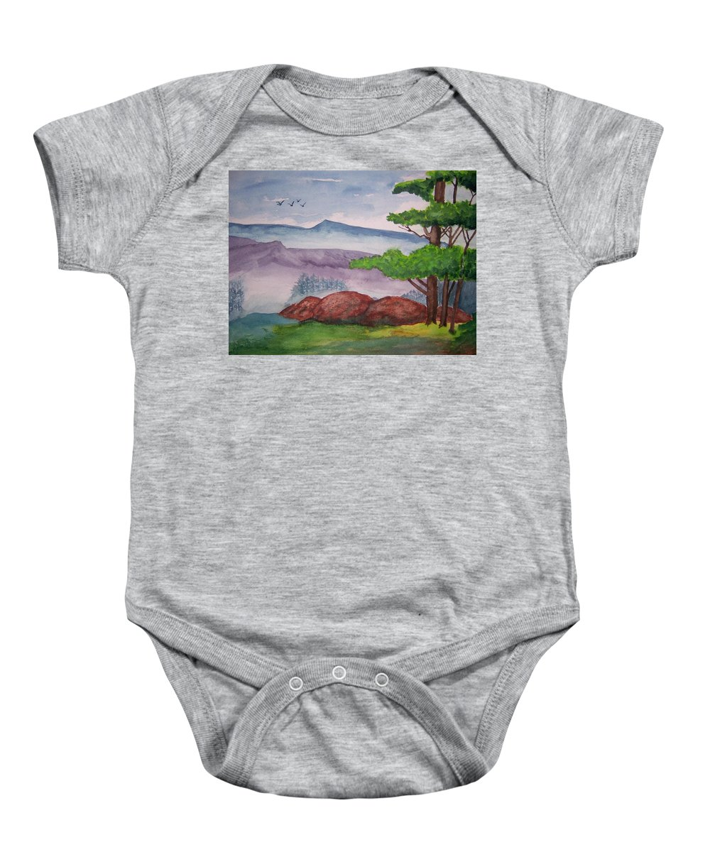 Landscape Baby Onesie featuring the painting Rocky Mountains by B Kathleen Fannin