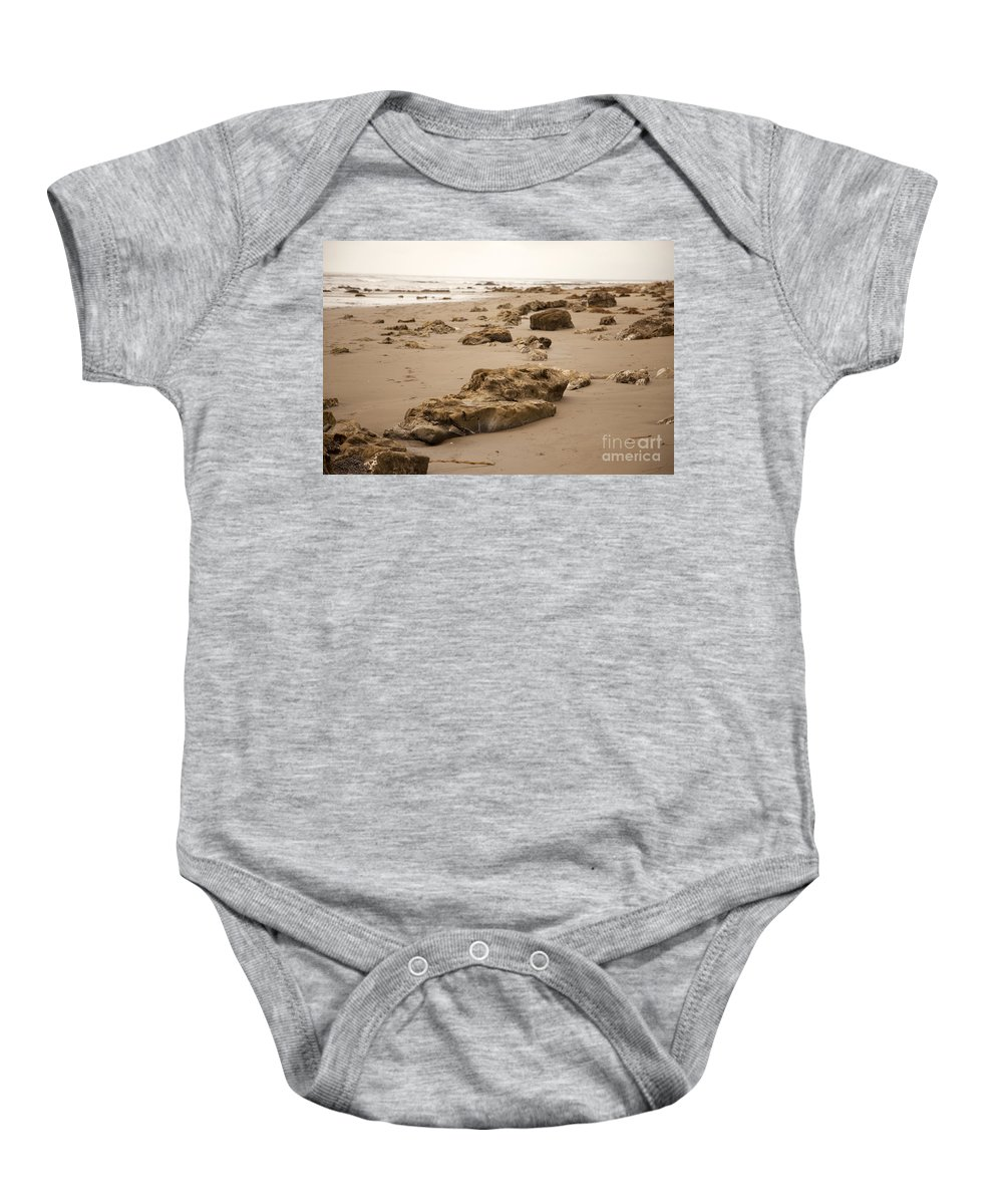 rocky Shore Baby Onesie featuring the photograph Rocky Shore 2 by Amanda Barcon