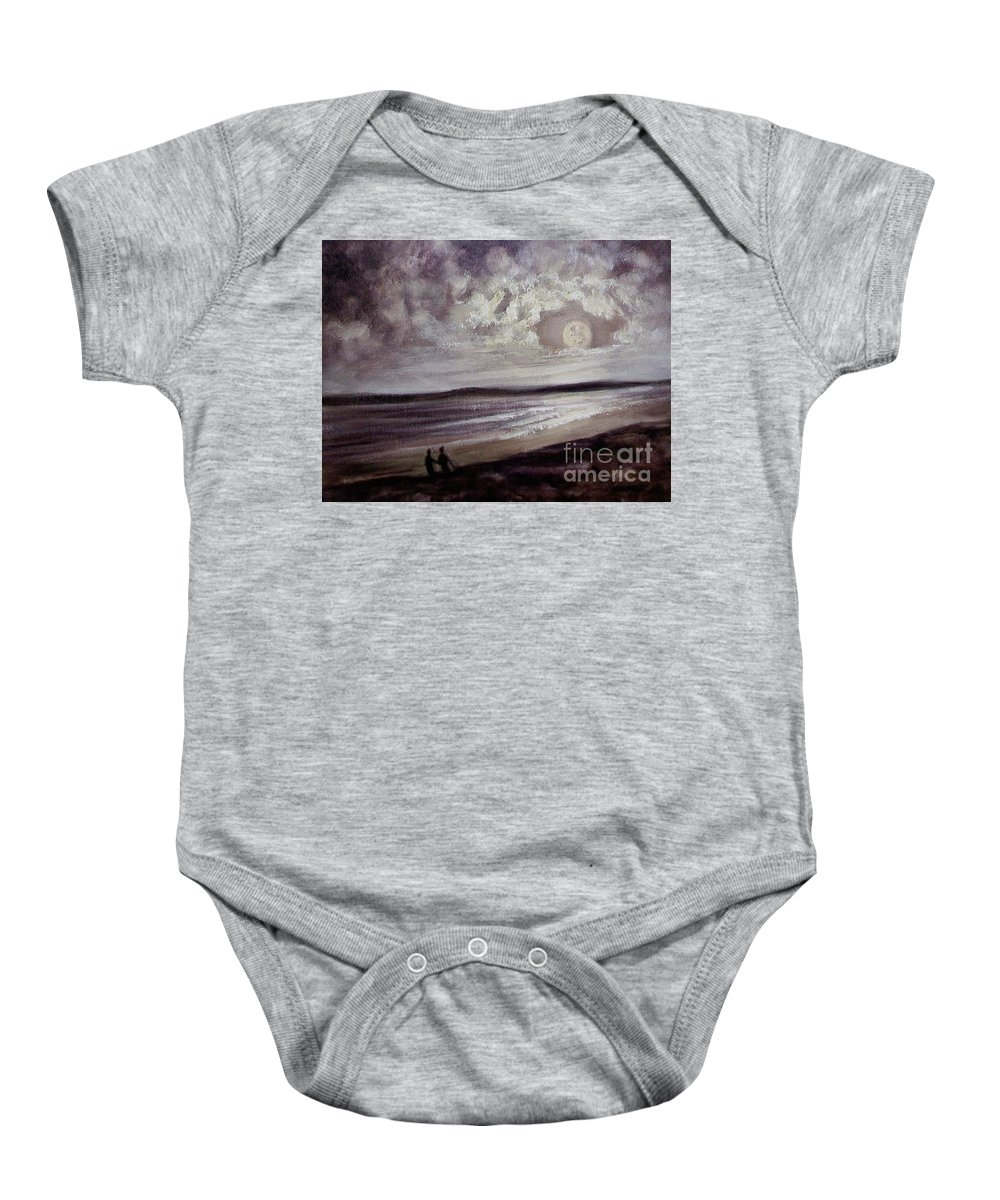 Romance Baby Onesie featuring the painting Romance Under The Moon by Randy Burns