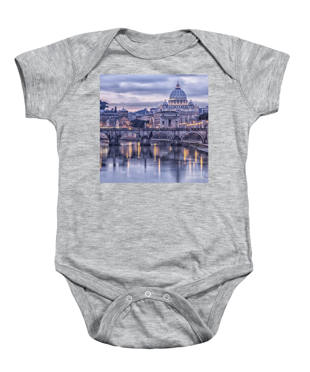 Rome Baby Onesie featuring the photograph Rome And The River Tiber At Dusk by Sophie McAulay