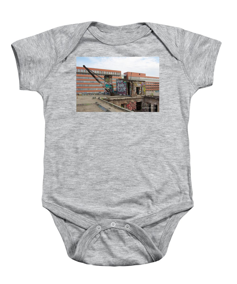 Abandoned Baby Onesie featuring the photograph Roof Of The Alte Eisfabrik Ruin In Berlin by Jannis Werner