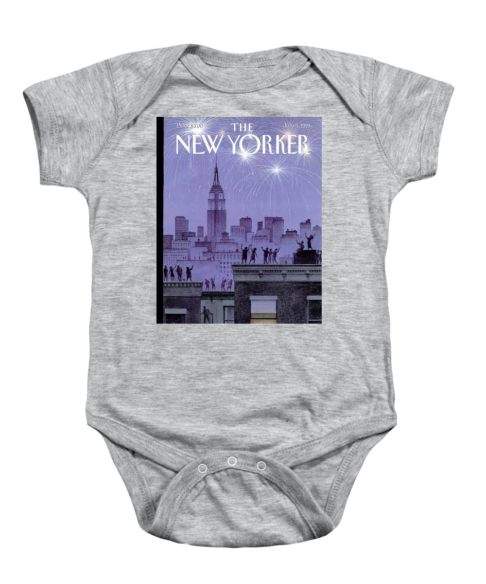 Harry Bliss Hbl Baby Onesie featuring the painting Rooftop Revelers Celebrate New Year's Eve by Harry Bliss