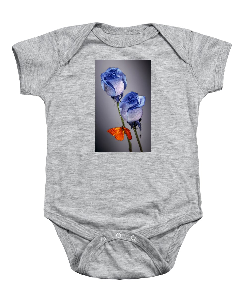 Cobalt Baby Onesie featuring the photograph Rosa Azul With Orange by Kirk Ellison