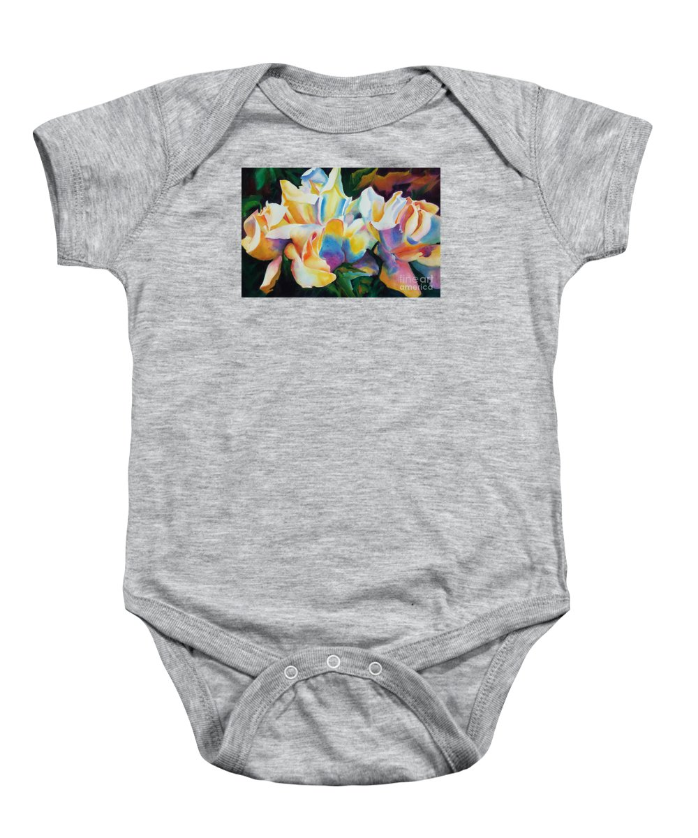 Paintings Baby Onesie featuring the painting Rose Cluster Half by Kathy Braud