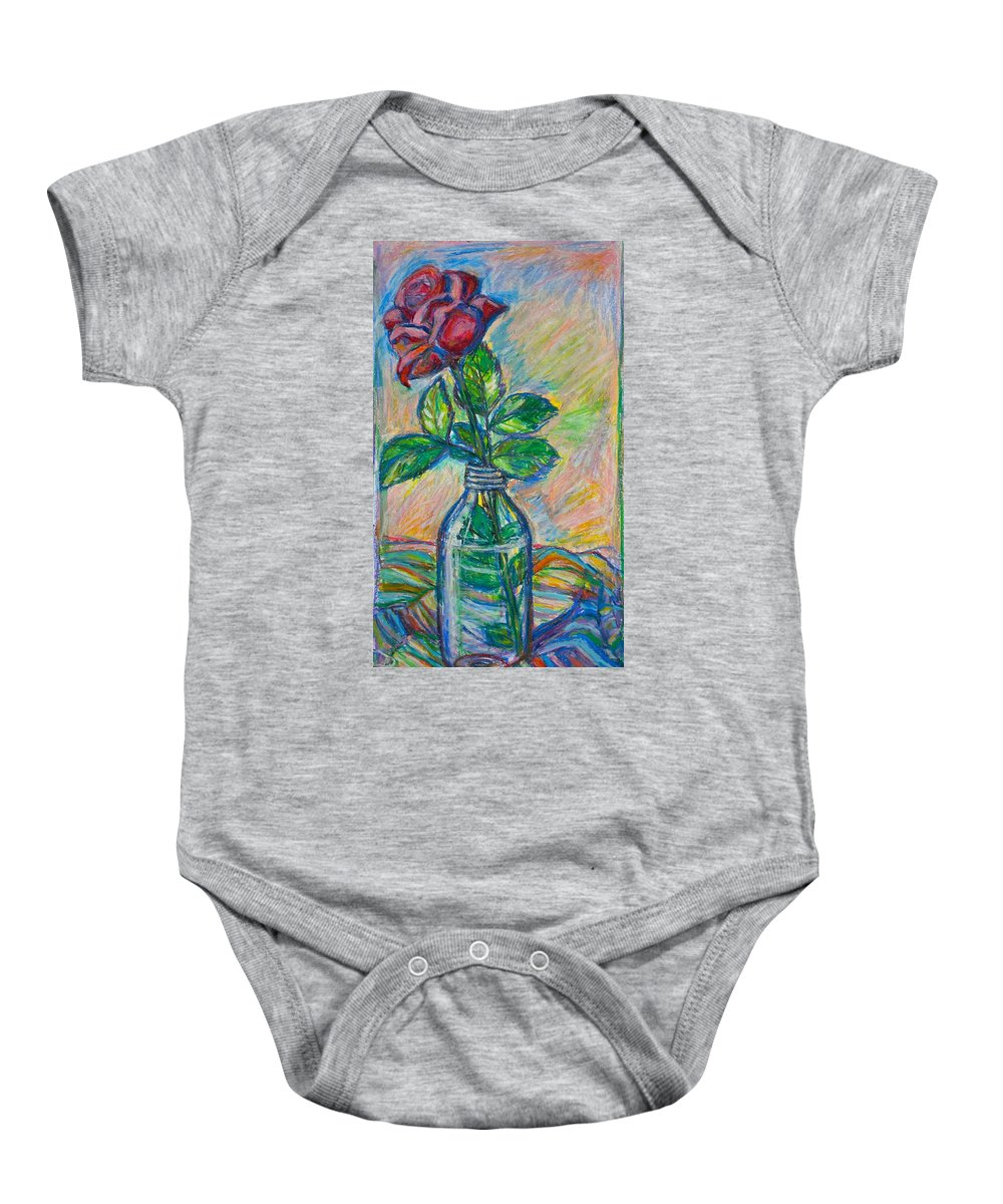 Still Life Baby Onesie featuring the painting Rose In A Bottle by Kendall Kessler