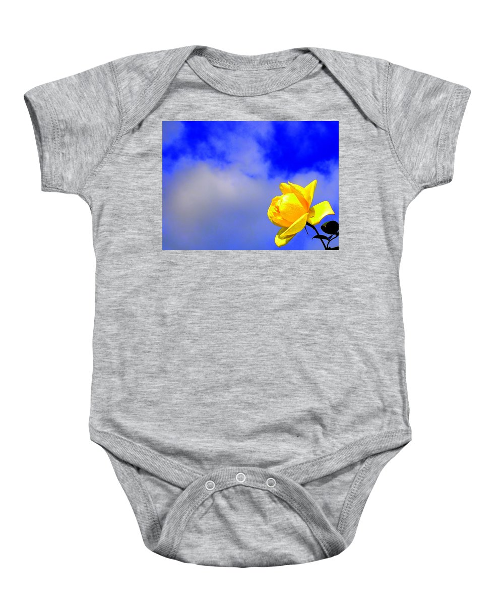 Rose Cloud Flower Stem Leaf Nature Spring Yellow Blue Green Floral Baby Onesie featuring the photograph Rose To The Sky by Guy Pettingell