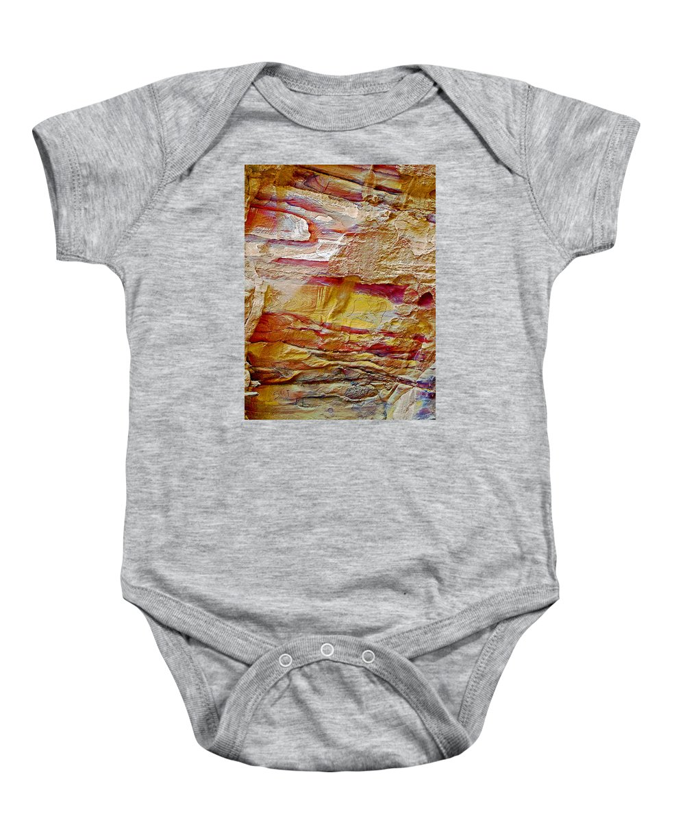 Rough And Red Rock In Petra Baby Onesie featuring the photograph Rough And Red Rock In Petra-jordan by Ruth Hager