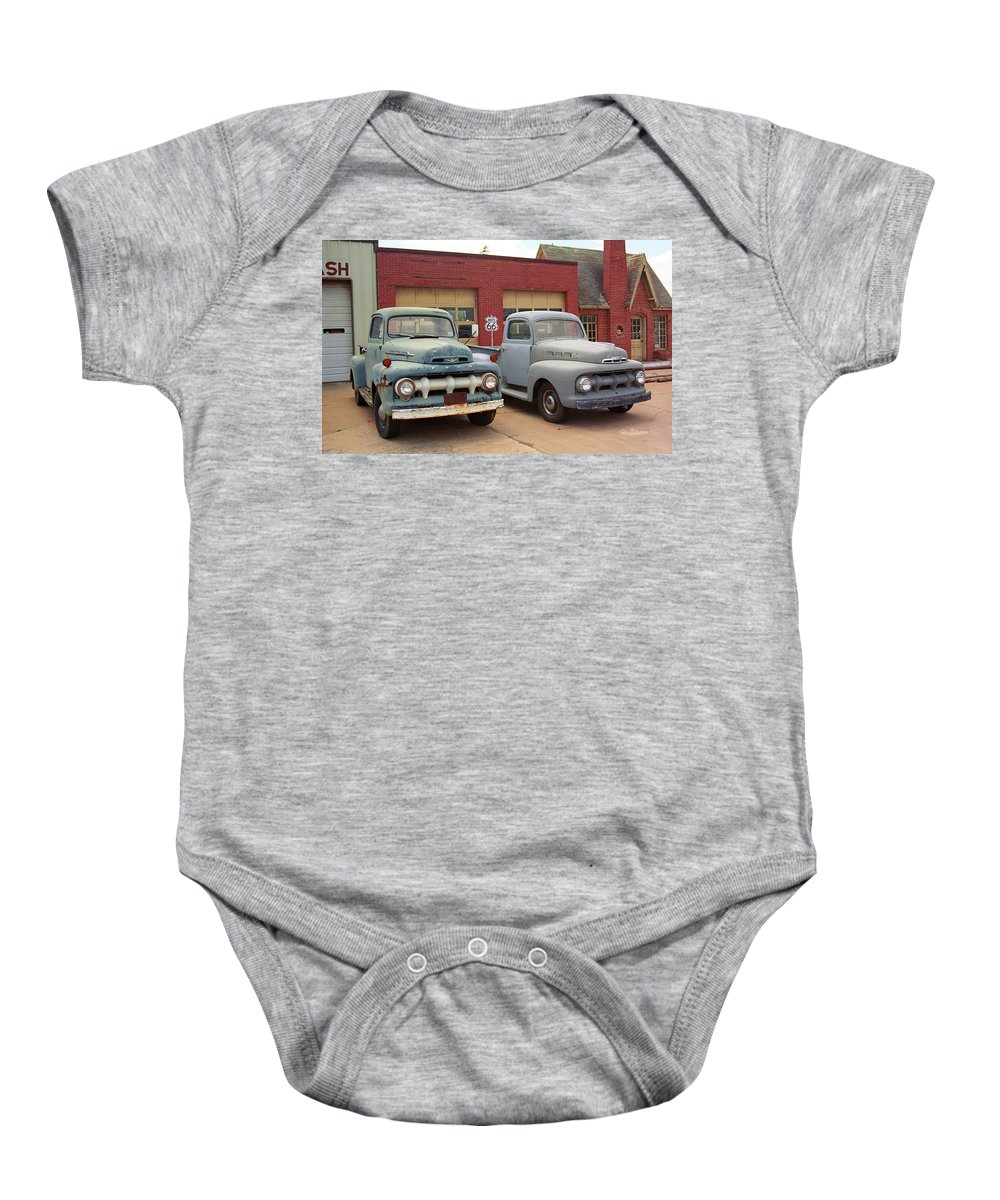 66 Baby Onesie featuring the photograph Route 66 Classic Cars by Frank Romeo