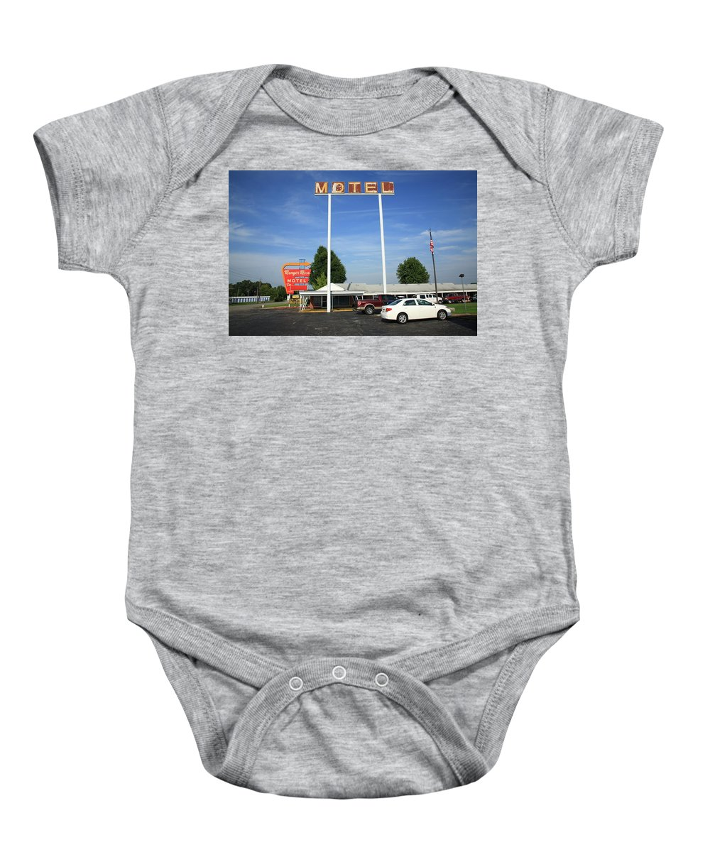66 Baby Onesie featuring the photograph Route 66 - Munger Moss Motel by Frank Romeo