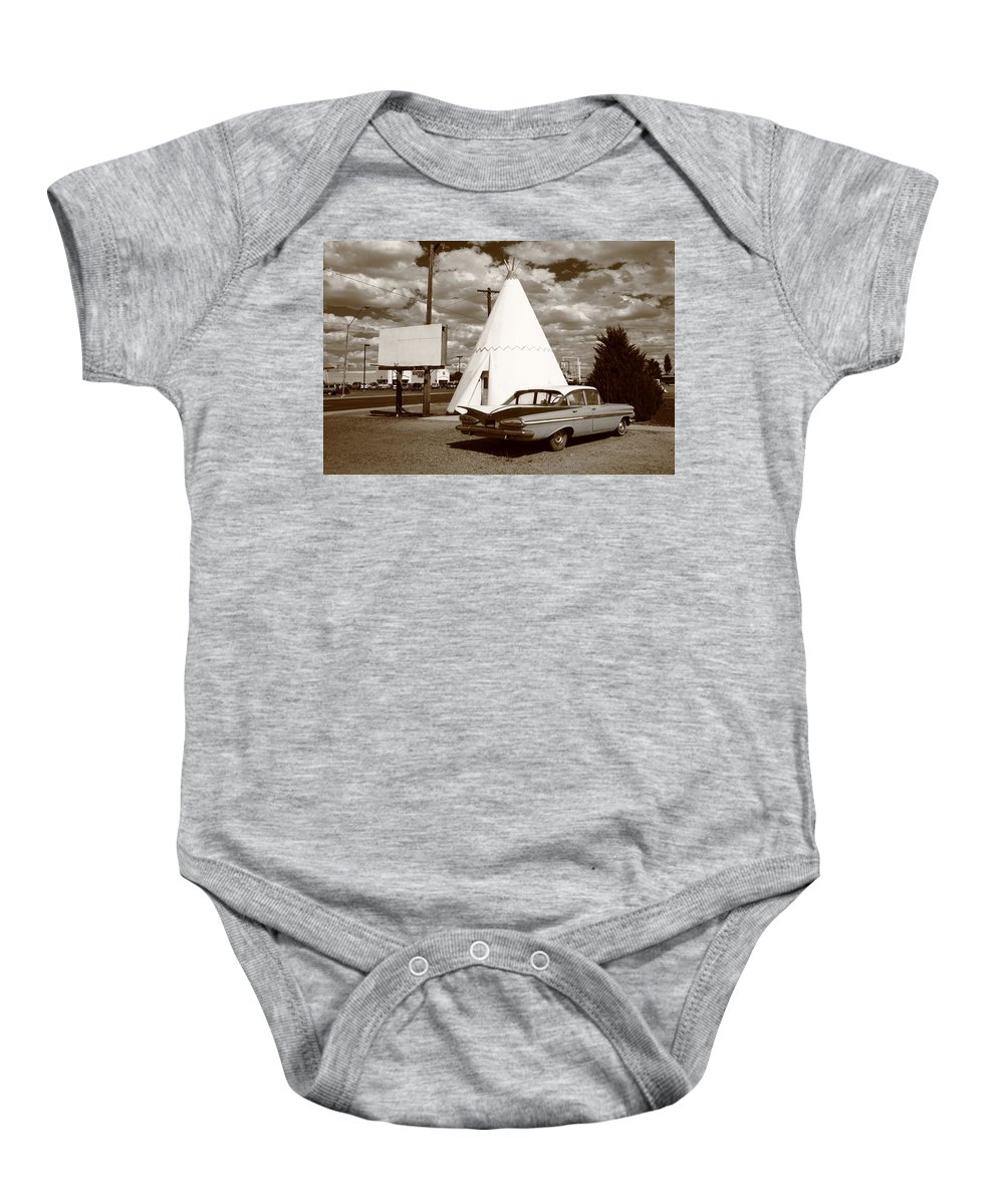 66 Baby Onesie featuring the photograph Route 66 - Wigwam Motel 15 by Frank Romeo