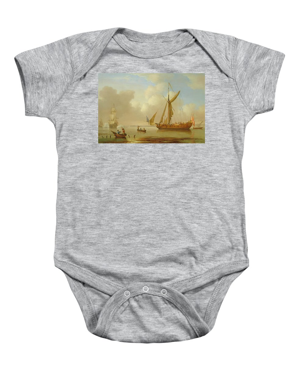 Sails; British Flag; Crew; Ship; Boat; Sailing; Maritime; Seascape; Rowing; Anchored; Calm Baby Onesie featuring the painting Royal Yacht Becalmed At Anchor by Peter Monamy