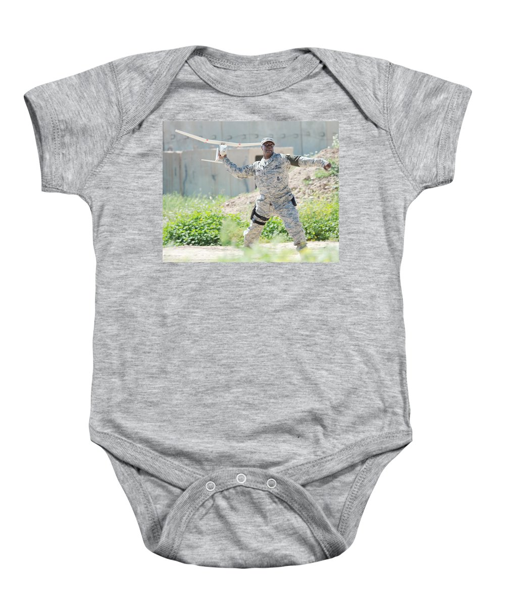 Rq-11b Raven Baby Onesie featuring the photograph Rq-11b Raven by Science Source